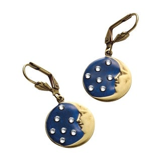 Anne Koplik Designs Moon and Stars Hook Earrings - Bronze Moon, Crystal Stars