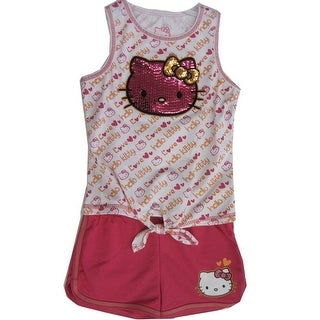 a610214128a0 Hello Kitty Little Girls White Fuchsia Glittery Applique Knot Romper 4-6X