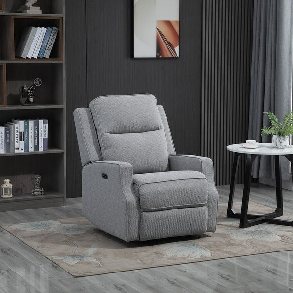 HOMCOM Electric Power Wall Hugger Recliner Chair/Armchair Sofa with Linen Upholstered Seat and Retractable Footrest. Opens flyout.