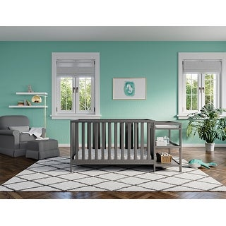 Link to Storkcraft Pacific 4-in-1 Convertible Crib and Changer - 2 Open Shelves, Water-Resistant Vinyl Changing Pad with Safety Strap Similar Items in Cribs