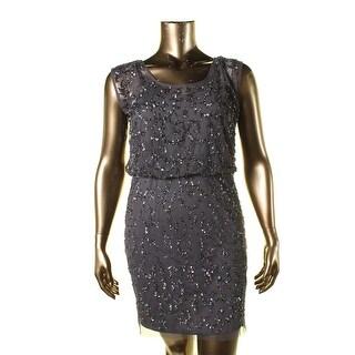 Aidan Mattox Womens Sleeveless Sequined Cocktail Dress
