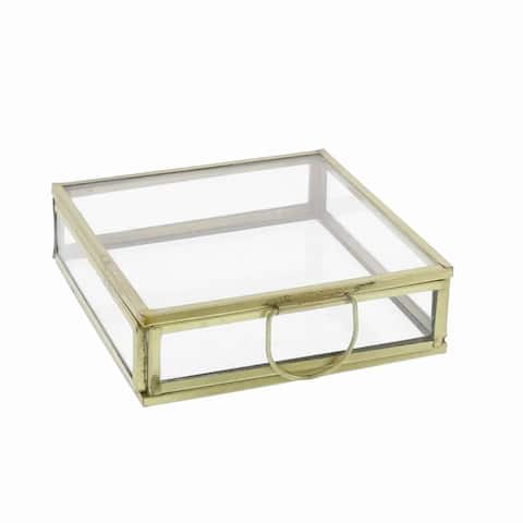Modern Designed Flat Square Top Box with Metal Handle, Gold and Clear