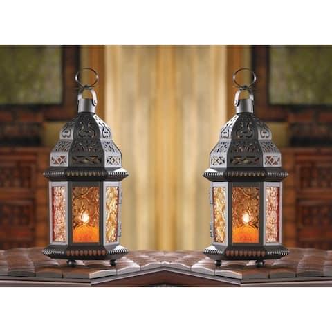 Set of 2 Amber Moroccan Candle Lanterns - Orange