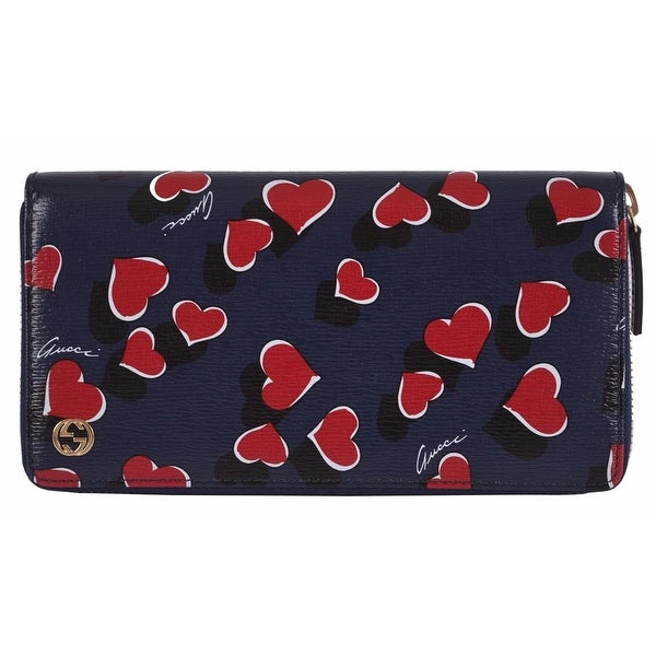 Gucci 309705 Betty Blue Heart GG Zip Around Leather Clutch Wallet