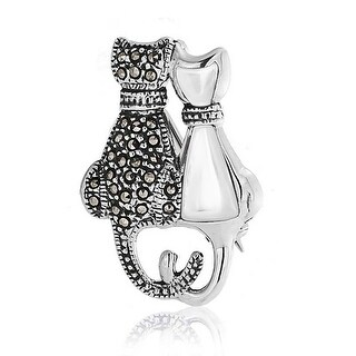Bling Jewelry MOP Marcasite Pendant Curled Cat Tail 925 Silver Brooch Pin
