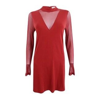 BCBGeneration Women's Mock-Neck Illusion Dress - Auburn