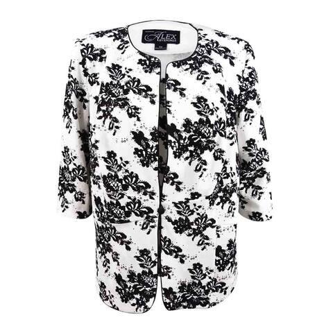 Alex Evenings Women's Plus Sequined Printed Jacket & Shell (3X, White/Black) - White/Black - 3X
