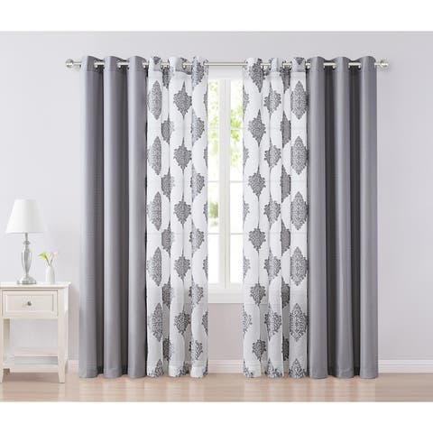 """VCNY Home Miranda Solid and Sheer Clipped Damask 4-Piece Curtain Panel Set - 38"""" x 84"""""""