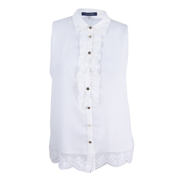 485405182f21af Shop Tommy Hilfiger Women s Sleeveless Ruffle Front Blouse - Ivory - On  Sale - Free Shipping On Orders Over  45 - Overstock - 22367091