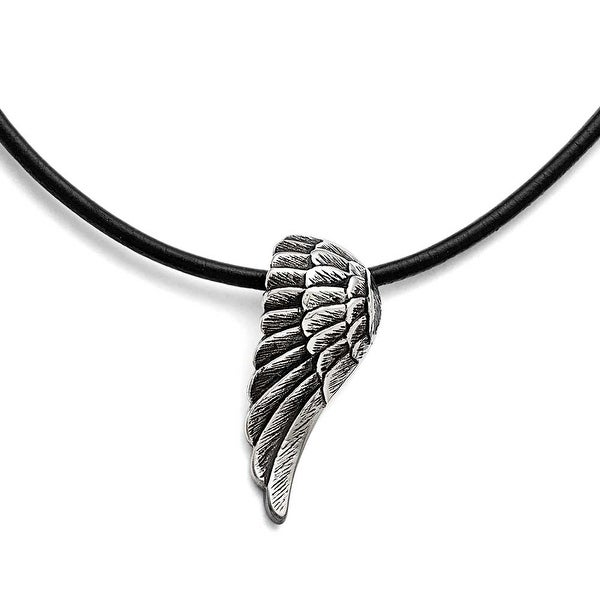 Chisel Stainless Steel Polished and Antiqued Wing Necklace - 20 in