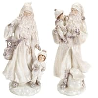 Set of 2 Winter White Glitter Santa with Children Table Top Christmas Decorations