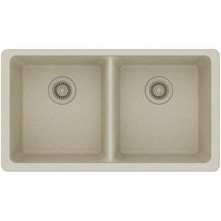 "Elkay ELGU3322  Gourmet 33"" Double Basin Granite Composite Kitchen Sink for Undermount Installations with 50/50 Split"