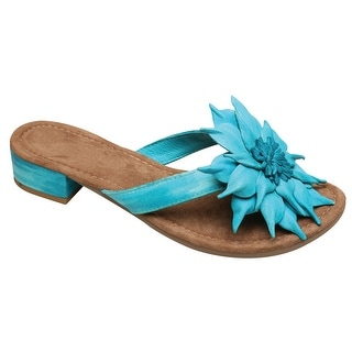 Women's Mia Flower Leather Thong Sandals - Turquoise - Size 37 - size 37