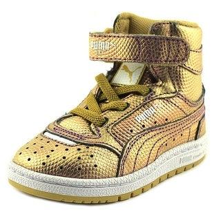 Puma Sky II Hi Holo Toddler Round Toe Leather Gold Sneakers