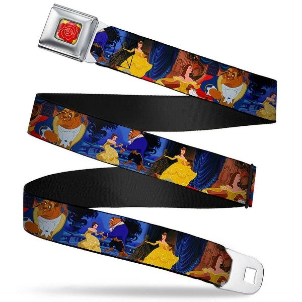 Beauty & The Beast Rose Close Up Full Color Yellow Red Belle & Beast Seatbelt Belt - XS