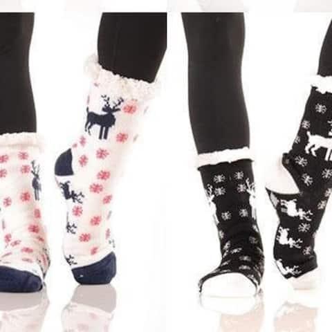 Women Reindeer Winter Socks Soft Warm Winter Cozy Christmas Gift - M