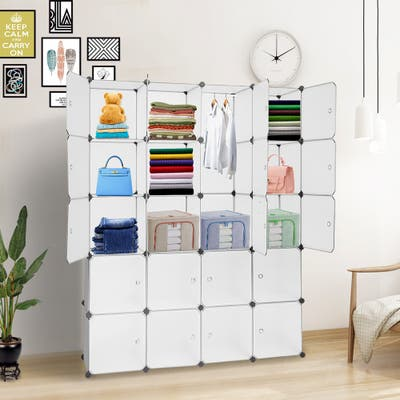16/20 Cube Organizer Stackable Plastic Cube Storage Shelves Design Modular Closet Cabinet with Hanging Rod
