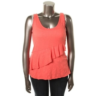 DKNY Jeans Womens Juniors Tank Top Ruffled Tiered - M