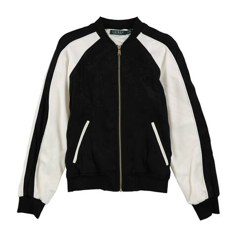 Ralph Lauren Womens Floral Bomber Jacket, black, Medium