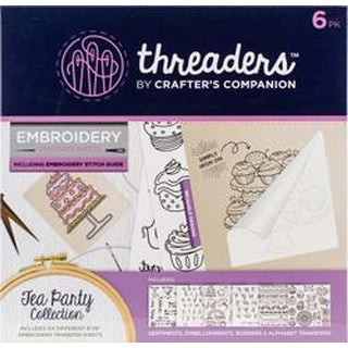 Tea Party 6/Pkg - Crafter's Companion Threaders Embroidery Transfer Sheets