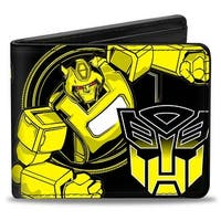 Bumble Bee Pose Autobot Logo Black Yellow Bi Fold Wallet - One Size Fits most