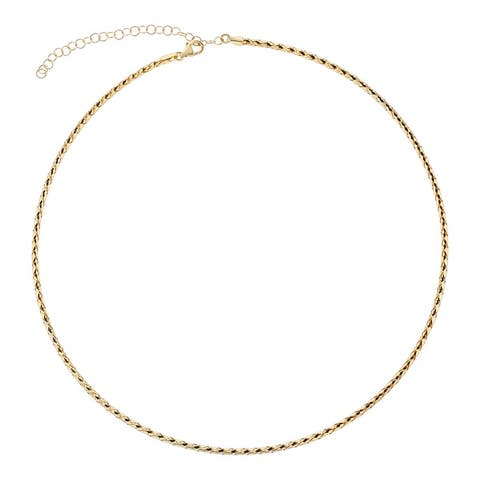 14K Yellow Gold 2 mm Italian Omega Necklace Adjustable 16-18 Inch by Beverly Hills Charm