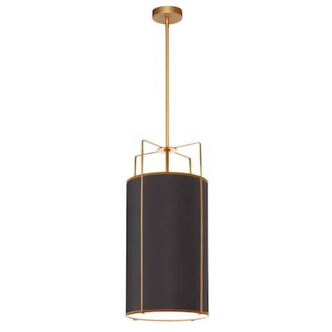 Dainolite Trapezoid Contemporary Gold Luxury Pendant Light Modern Pendant Light w/ Black Drum Shade