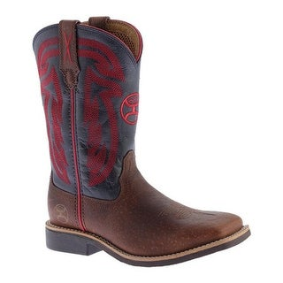 Twisted X Boots Children's YHY0008 Hooey Cowboy Boot Peanut Distressed/Blue Leather