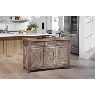 The Gray Barn April Cottage Kitchen Island with Wood Drop Leaf Top