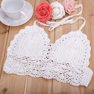 Sexy Women Crochet Crop Tops Summer Beachwear Hollow Out Bikini Bra Strap Tank Vest Tops High-Neck Halter Camis Camisole