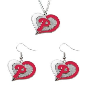 Philadelphia Phillies Swirl Heart Necklace and Dangle Earring Set MLB Charm Gift