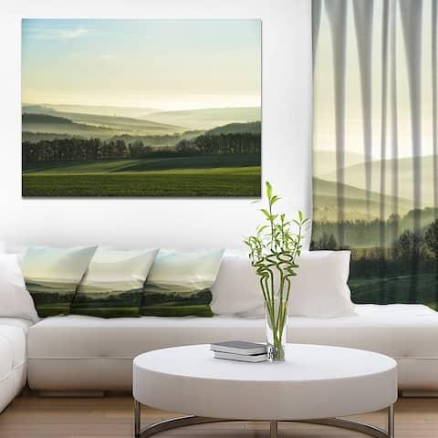 Designart 'Superb Green Hills in the Fog' Landscape Artwork Canvas Print