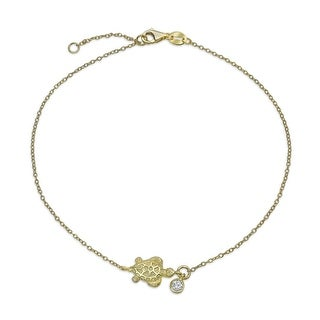 Bling Jewelry Gold Plated Nautical Turtle Anklet Solitaire CZ Charm Silver