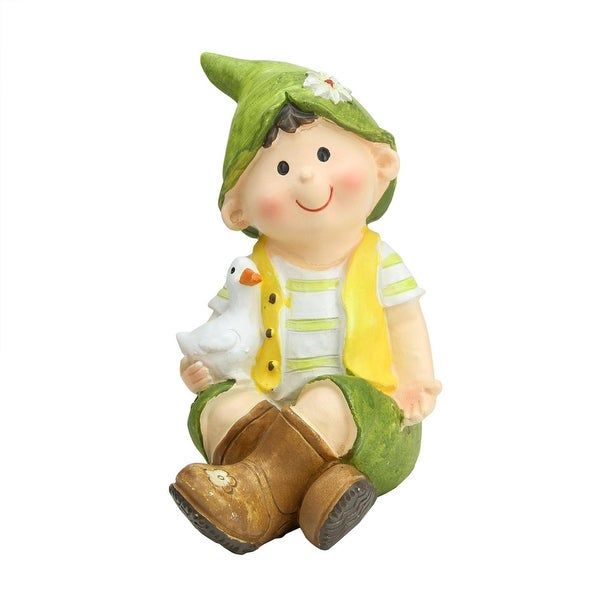 "7"" Young Boy Gnome Sitting with Duck Spring Outdoor Garden Patio Figure"