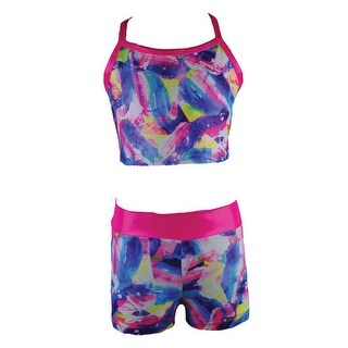 Reflectionz Little Girls Pastel Multi Print Spaghetti Strap 2 Pc Short Set (2 options available)