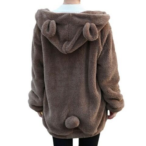 Women Teddy Bear Ear Coat Hoodie Hooded Outerwear