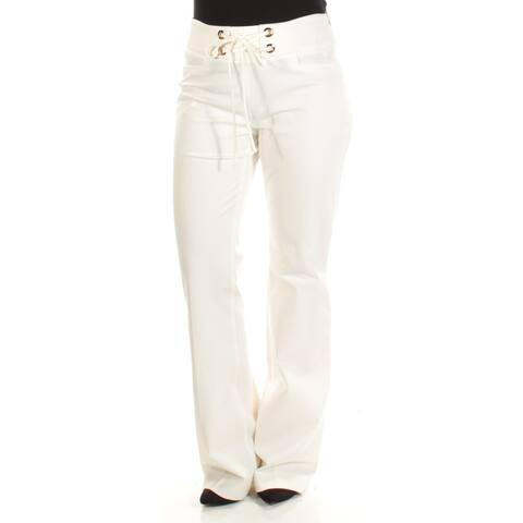 INC Womens Ivory Tie Wide Leg Wear To Work Pants Size 4