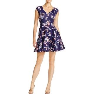 Aqua Womens Juniors Scuba Dress Floral Print V-Neck