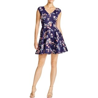 Aqua Womens Juniors Scuba Dress Floral Print V-Neck