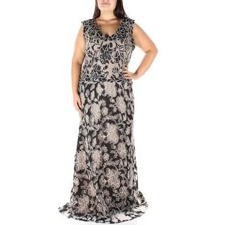 Womens Black Beige Floral Sleeveless Full Length A-Line Formal Dress Size: 16