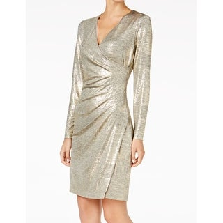 Calvin Klein NEW Gold Womens Size 2P Petite Metallic Sheath Dress