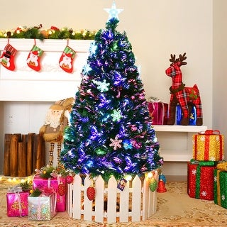 Gymax 5' Pre-Lit Multi-Color Lights Fiber Optic Artificial Christmas Tree with Snowflakes