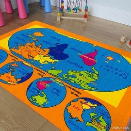 "AllStar Rugs Kids / Baby Room Area Rug. World Map. USA Map. Ocean. Continents. Bright Colorful Vibrant Colors (4' 11"" x 6' 11"")"