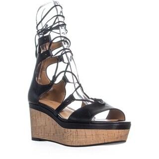 Coach Barkley Platform Wedge Lace Up Sandals, Black - 8.5 us / 38.5 eu