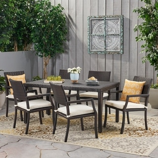 Link to Rhode Island Outdoor 7-piece Wicker Rectangular Dining Set by Christopher Knight Home Similar Items in Patio Furniture