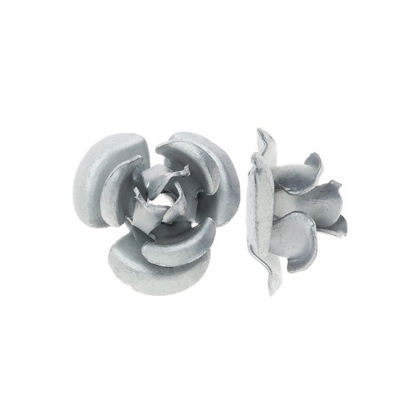 Metal Embellishments, Rose Flower Beads 6mm, 20 Pieces, Matte Silver