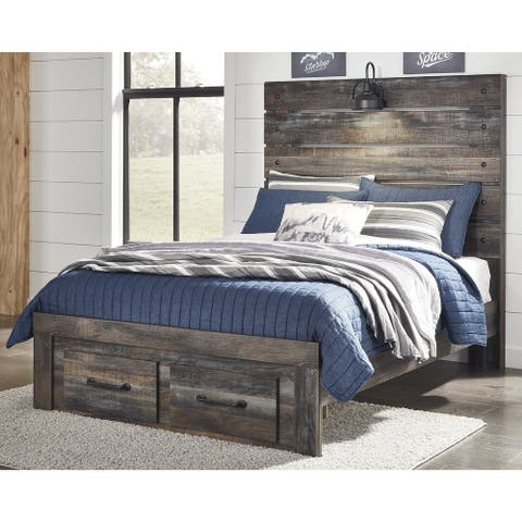 Drystan Rustic Brown Panel Bed with Footboard Storage Drawers