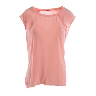 Elie Tahari Womens Silk Lace-Up Casual Top - L