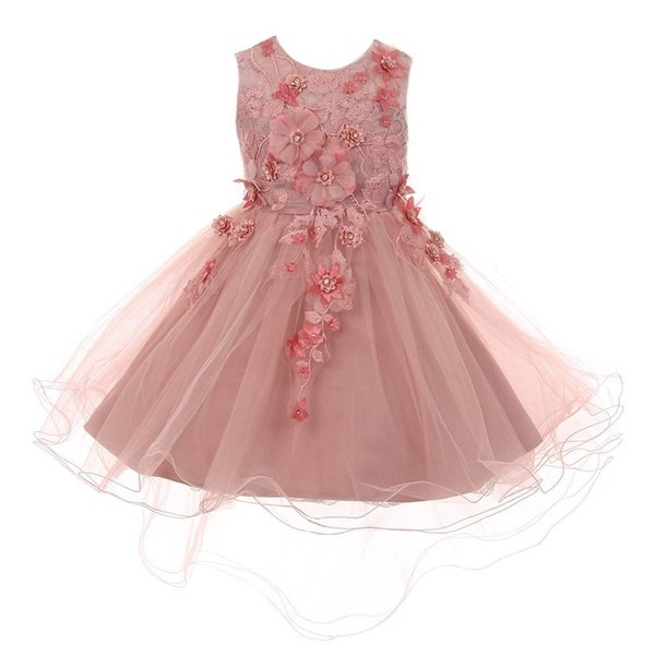 Shop Girls Dusty Rose 3D Floral Appliques Hi-Low Tulle Junior ...