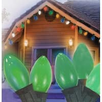 "Set of 25 Opaque Green C9 Christmas Lights 12"" Bulb Spacing 20 AWG - Green Wire"